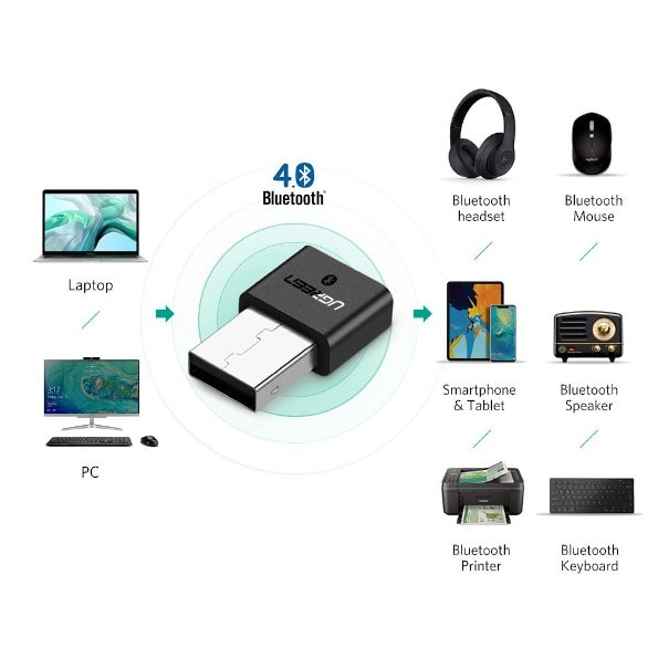 UGREEN USB Wireless Bluetooth 4.0 Adapter - Black برنامج تعريف